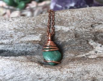 Green Amazonite Necklace - Tumbled Stone Pendant - Wedding Jewelry - Bridesmaid Gift - Wire Wrapped Gemstone Pendant - Gypsy Hippie Necklace