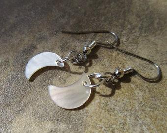 Black Lip Shell Crescent Moon Earrings~Pagan~Goddess~Ritual Jewelry~Set #4