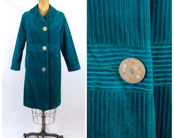 60s Emerald Green Coat // Small // Jewel Tone Green Corduroy Early 60s Late 50s Spring Coat Lightweight Coat Evening Coat