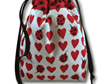 Lovebugs - One Skein Project Bag for Knitting, Crochet, or Cross Stitch