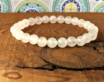 6mm A Grade Rose Quartz Bracelet, Heart Chakra Jewelry, Healing Crystals, Unconditional Love-Compassion-Kindness