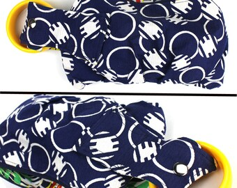 Navy & White Circle Pattern Bracelet Handbag Wristlet