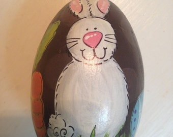 "3.25"" Bunny with carrot and eggs, Easter egg, personalized egg"