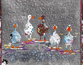 MarveLes Collage PDF Download Quilt Pattern for LUCKY DUCKS Wall Hanging Spring Mothers Day Home Decor