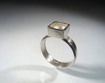 Gambling Silver Cube Ring - silver ring with white pearl
