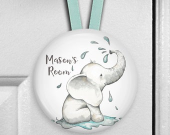 Elephant nursery decor - elephant gifts for baby shower - personalized baby boy gifts - Bedroom door knob hanger for kids HAN-PERS-10