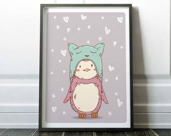Cute Nursery Print, Nursery Wall Art, Nursery Print, Wall Art, Nursery Penguin Art, Wall Art Print, Fine Art Print, Penguin Print, Prints