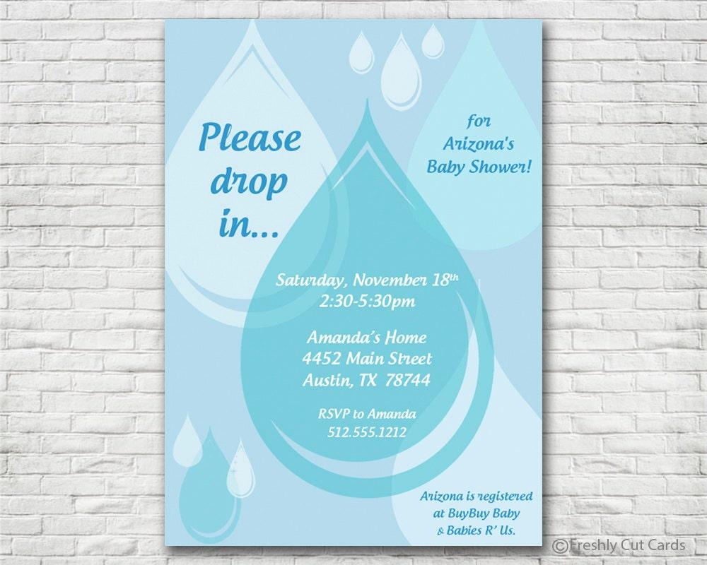 Raindrop Baby Shower Invitation Printable or Printed w/