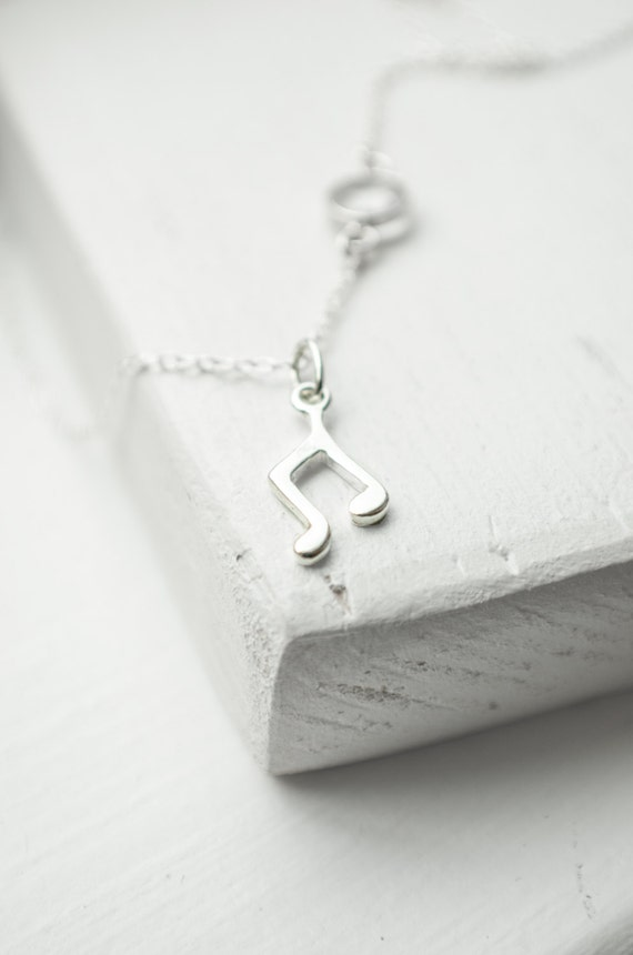 Music Note Necklace - Sterling Silver Charm Necklace | Singer or Musician Gift | Eighth Note Quaver | Quartz Bezel | Simple Everyday Jewelry