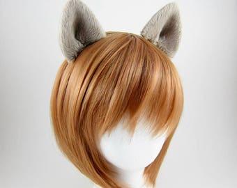 Wolf Ears Costume Cosplay Hair Clips Fluffy Plush Dark Beige Wolf Ears