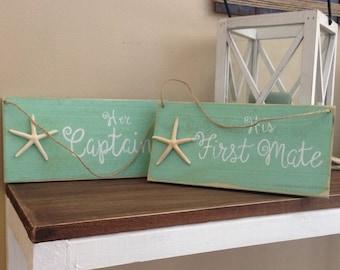 Nautical wedding chair signs