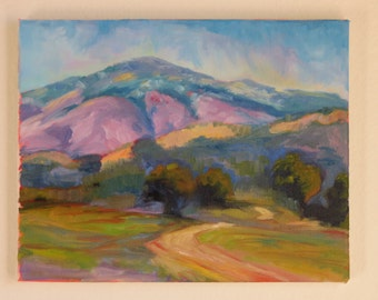 Original Impressionist Painting of a Meadow and Mountain in Southern California