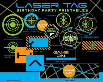 INSTANT DOWNLOAD - Laser Tag Birthday Party Package, Laser Tag Party Printables, Decorations