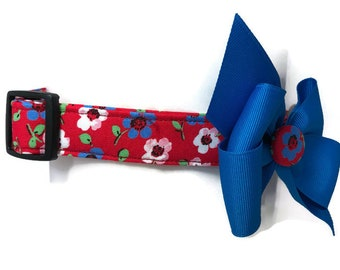 Americana Floral Red White Blue Dog Collar size Extra Large