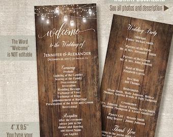 Wedding Program, Printable Wedding Templates, Rustic Wedding program, Self Editable PDF template A203