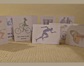 10 Birthday Cards, Handmade, Word Art, Typography, A5, Greetings Card