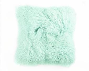 "Tibetan Lamb Fur Pillow 18"" Square Minty"