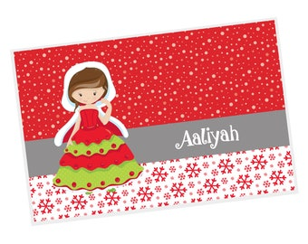 Christmas Personalized Placemat - Christmas Princess Red Snowflakes Snow Dots with Name, Customized Laminated Placemat