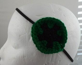Crocheted Star Shield Headband - Green and Black (SWG-HH-STRD07)