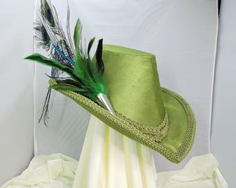 green elizabethan archbrim riding hat renaissance faire