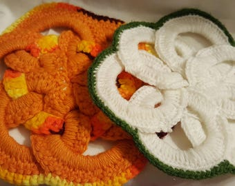 2 Vintage Handmade Pot Holders Orange, Green and White, Free Shipping