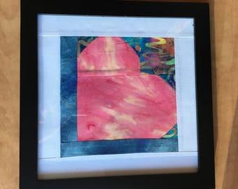Batik Pink Heart - Framed Art