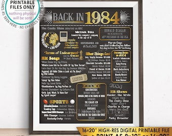 """1984 Flashback Poster, Flashback to 1984 USA History Back in 1984, Birthday Anniversary Reunion, Chalkboard Style PRINTABLE 16x20"""" Sign <ID>"""