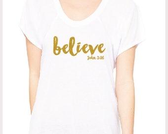 "Ladies ""Believe"" White SS Sparkle Tee"
