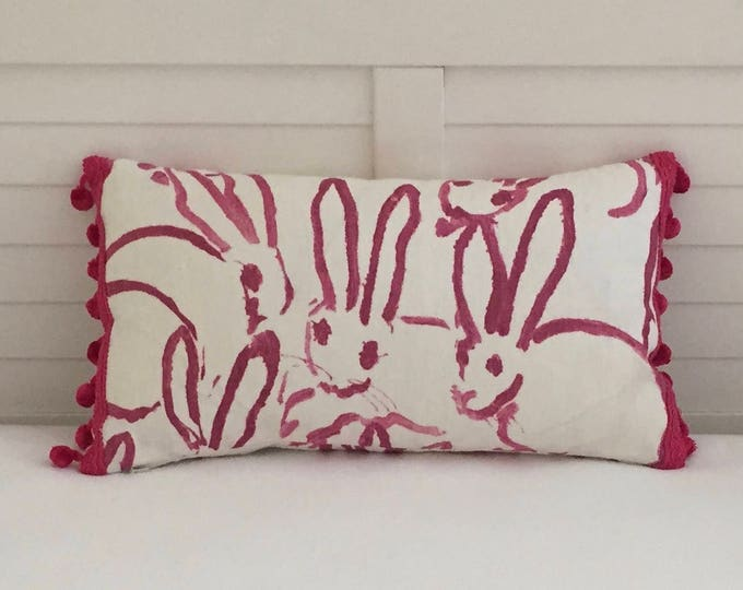 Groundworks Bunny Hutch Print in Pink on Both Sides Designer Lumbar Pillow Cover with Hot Pink Pom Pom Trim