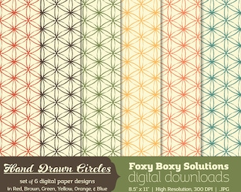 Hand Drawn Style Circle Pattern: set of 6 digital papers with a hand drawn look for scrapbooking and card making, instant download