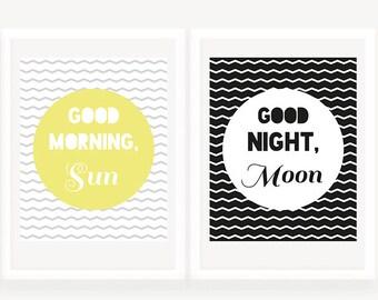 Nursery Decor, Modern Nursery Wall Art, Good Morning Sun Good Night Moon Diptych Two Print Set, Printable Nursery Art, Chevron Kids Room