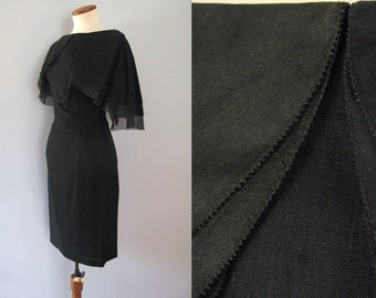 50s black dress - vintage De Michel peter pan collar sheer flutter sleeves cocktail party mid century linen wiggle fit retro pinup xs small
