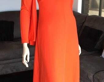 1970s Grasshopper Formal Maxi Long Dress - SM Amazing Sleeves