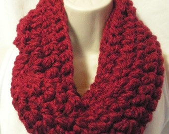Cranberry  Wool Cowl Infinity Circle Scarf Neckwarmer