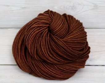Calypso - Hand Dyed Superwash Merino Wool DK Light Worsted Yarn - Colorway: Cinnamon