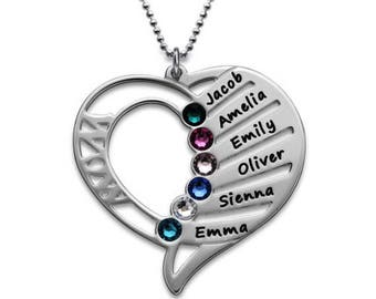 Engraved Mom Necklace with Birthstone in Sterling Silver 0.925