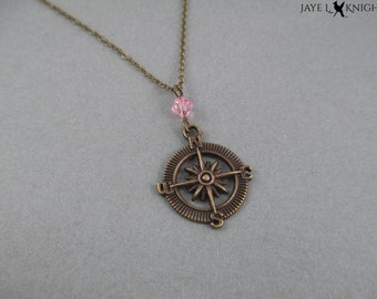 Compass Charm Necklace - Bronze - Pirates of the Caribbean - Jack Sparrow