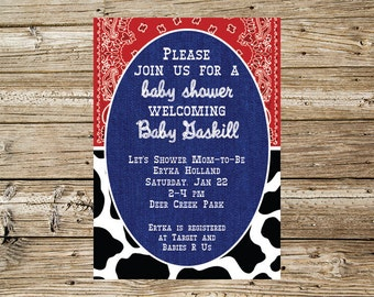 Country Themed Baby Shower invitation