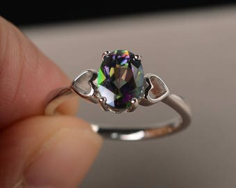 November Birthstone Mystic Topaz Ring Wedding Ring Solitaire Ring Oval Cut Rainbow Gemstone Ring Sterling Silver Ring
