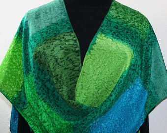 Silk Scarf Handpainted. Green Hand Painted Shawl. Handmade Silk Wrap COLORADO MARSHES. Large 14x72. Birthday Gift Mother's Day