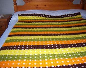 Crochet Throw Afghan Cover Vintage Hand Made 4 Bright Color Stripe 50x70in
