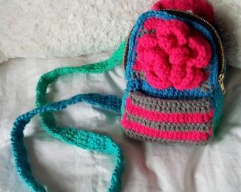 Blau & Rosa Mini-Rucksack ~ mit rosa Rose Blüte