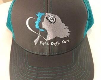 Fight. Defy. Cure. Snapback Trucker Cap - Brain Cancer Awareness