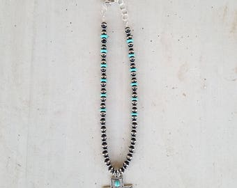 SALE Navajo Pearls and Cross Necklace