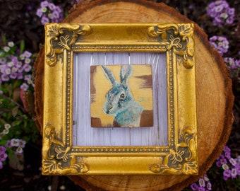 Rabbit Mini Painting, Framed