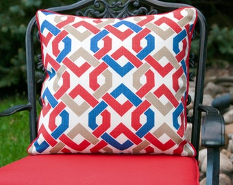 OUTDOOR PILLOW COVER - Red Blue And White Pillow Cover -Outdoor Throw Pillow Cover - Patio Decor - Red Outdoor Pillow Covers