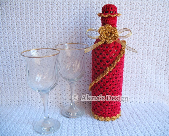 Crochet Pattern 121 - Crochet Wine Bottle Cover Pattern - 750 ml Wine Bottle Cover Pattern - Gift - Birthday - Wedding - Special Occasions