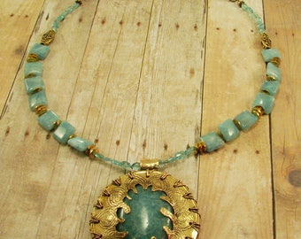 Etched Red Brass and Aqua Gemstone Pendant Necklace
