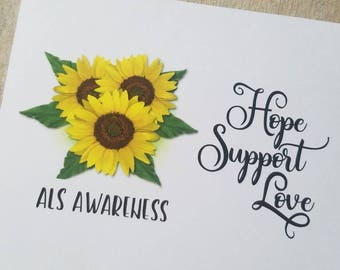 Set of 12 ALS D2 - Awareness Sunflower Thank you Blank Note Cards Fundraising for a Cure. Lou Gehrig's Disease Support