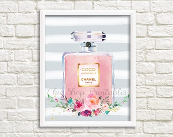 Coco Mademoiselle Chanel Perfume Print, Watercolor Chanel Print, Designer art decor, Chanel Perfume Print, Instant Download, 8x10 print